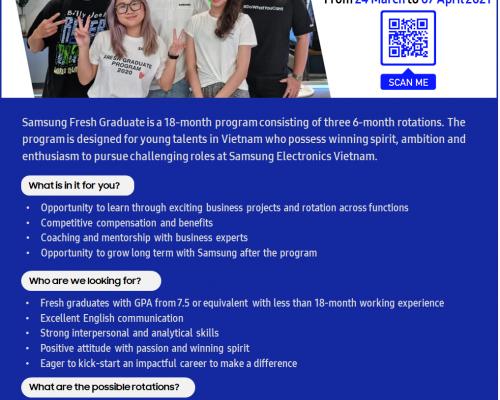Samsung Fresh Graduate Program 2021 – Chương Trình Tuyển Dụng Sinh Viên Mới Tốt Nghiệp