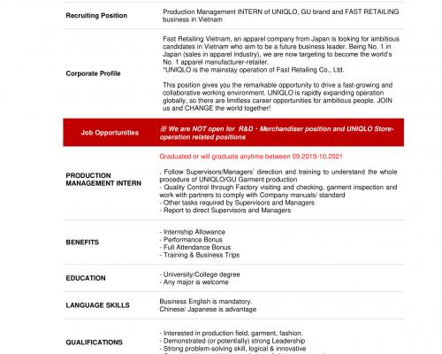 Chương trình tuyển dụng Thực tập sinh Quản lý sản xuất từ Fast Retailing Vietnam (UNIQLO & GU Production)